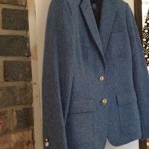 Light blue wool herringbone blazer